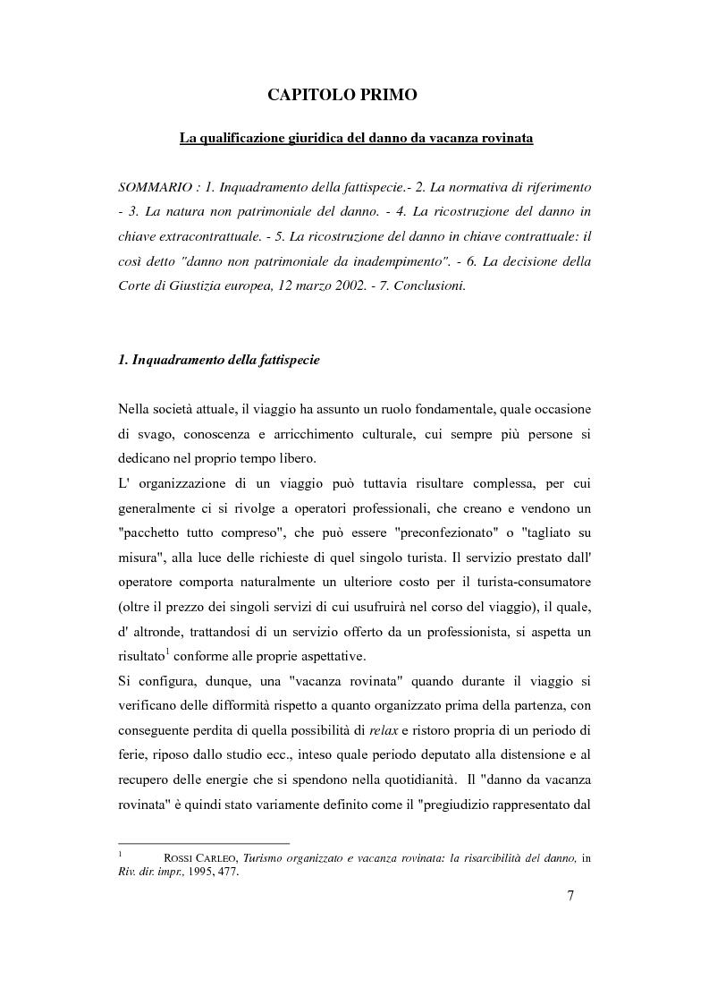 Anteprima della tesi: Il danno da vacanza rovinata come danno non patrimoniale da inadempimento contrattuale, Pagina 3