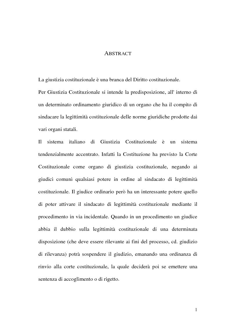 Anteprima della tesi: Giustizia costituzionale nel diritto comparato, Pagina 1