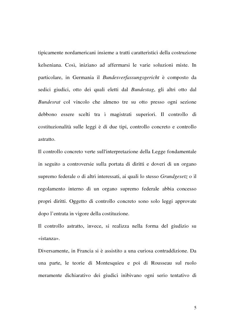 Anteprima della tesi: Giustizia costituzionale nel diritto comparato, Pagina 5