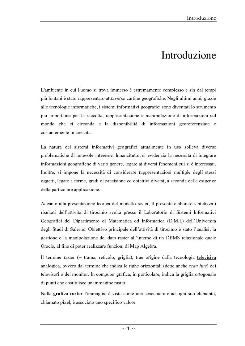 Anteprima della tesi: Le basi di dati geografiche in Spatial Oracle: gestione del dato raster, Pagina 1