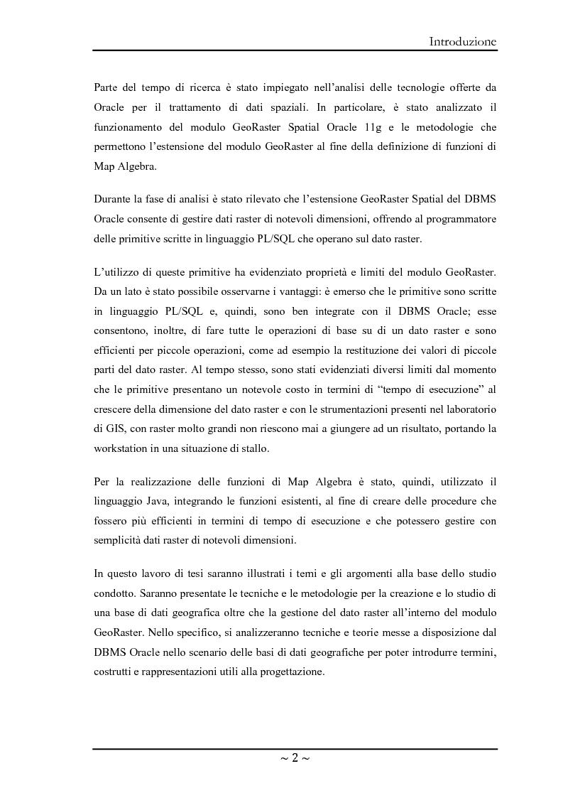 Anteprima della tesi: Le basi di dati geografiche in Spatial Oracle: gestione del dato raster, Pagina 2