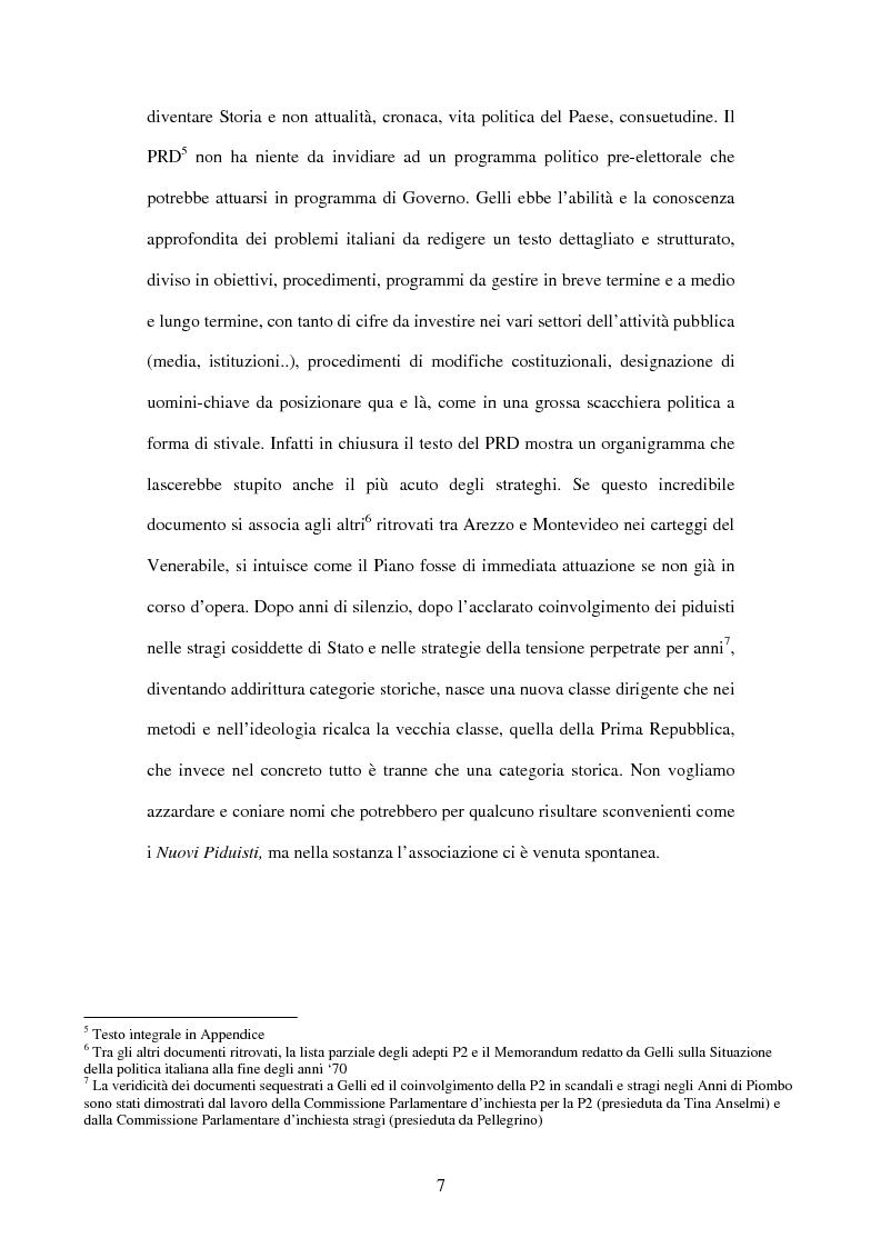 Anteprima della tesi: Il Piano di Rinascita democratica nei giornali e negli atti parlamentari - Causalità e casualità politiche nell'Italia post piduista, Pagina 4