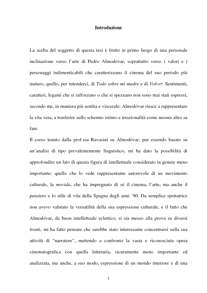 Anteprima della tesi: ''La parola è il più efficace degli effetti speciali'': l'opera di Almodovar tra scrittura e immagini, Pagina 1