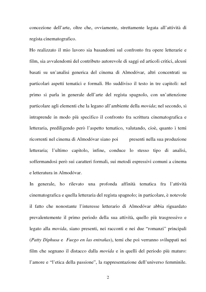 Anteprima della tesi: ''La parola è il più efficace degli effetti speciali'': l'opera di Almodovar tra scrittura e immagini, Pagina 2