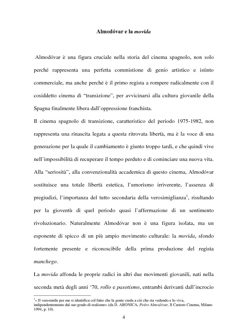 Anteprima della tesi: ''La parola è il più efficace degli effetti speciali'': l'opera di Almodovar tra scrittura e immagini, Pagina 4