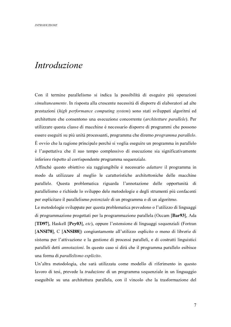 Anteprima della tesi: Analisi di un ambiente simbolico per lo sviluppo di un compilatore parallelizzante, Pagina 1