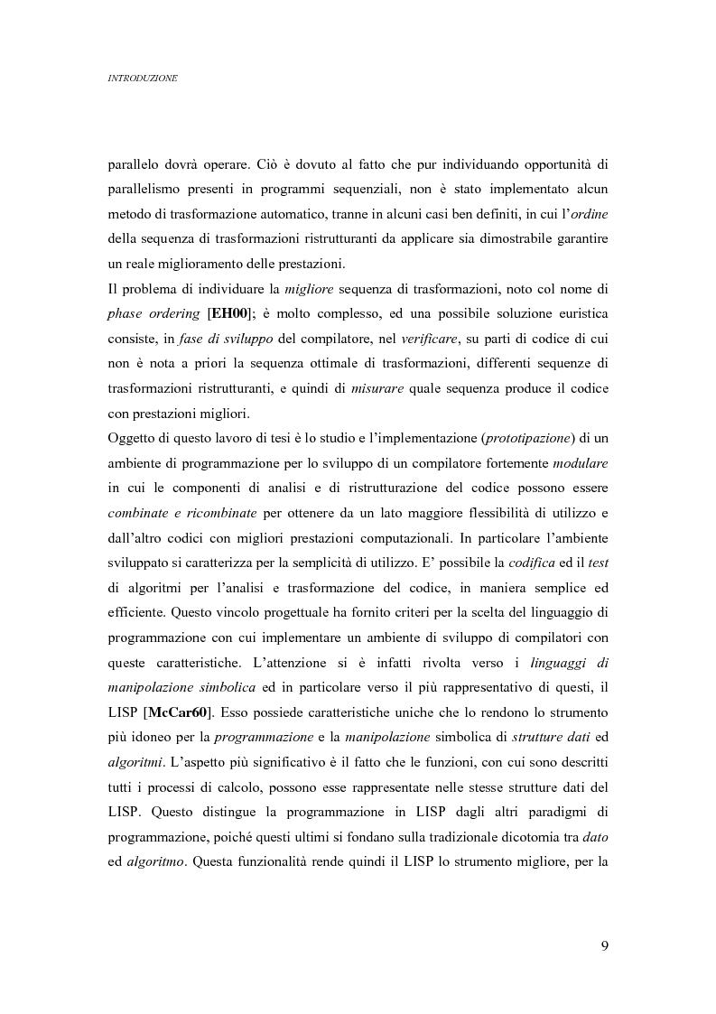 Anteprima della tesi: Analisi di un ambiente simbolico per lo sviluppo di un compilatore parallelizzante, Pagina 3
