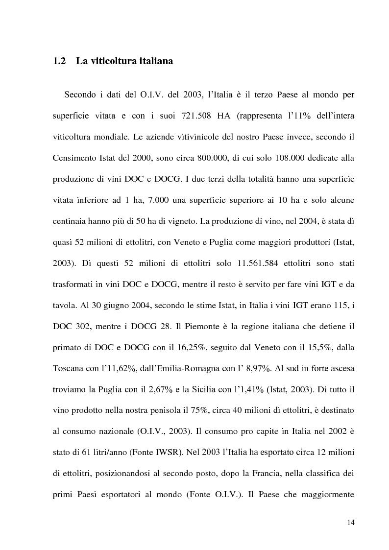 Anteprima della tesi: Caratteristiche strutturali ed economiche del settore viticolo della Tuscia e problematiche di valorizzazione della sua produzione, Pagina 12
