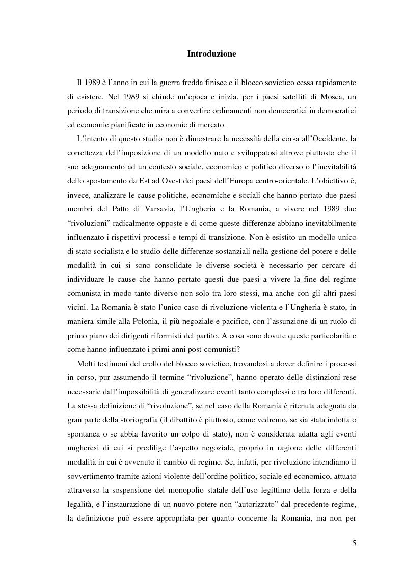 Anteprima della tesi: Il processo di transizione in Ungheria e Romania, Pagina 1