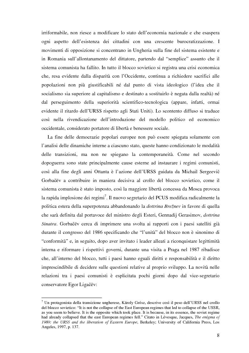 Anteprima della tesi: Il processo di transizione in Ungheria e Romania, Pagina 4