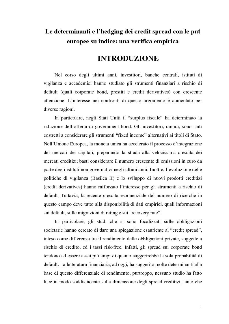 Anteprima della tesi: Le determinanti e l'hedging dei credit spread con le opzioni put europee su indice: una verifica empirica, Pagina 1