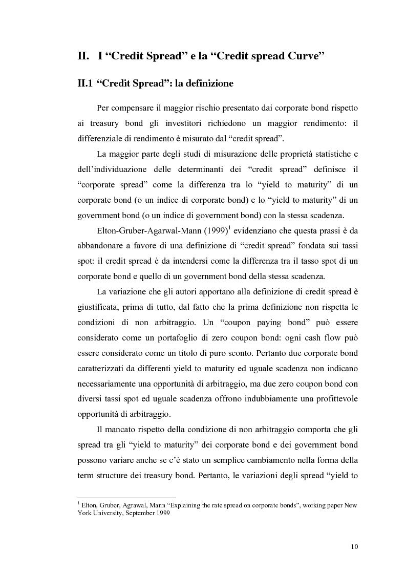Anteprima della tesi: Le determinanti e l'hedging dei credit spread con le opzioni put europee su indice: una verifica empirica, Pagina 10