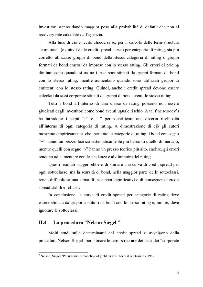 Anteprima della tesi: Le determinanti e l'hedging dei credit spread con le opzioni put europee su indice: una verifica empirica, Pagina 15