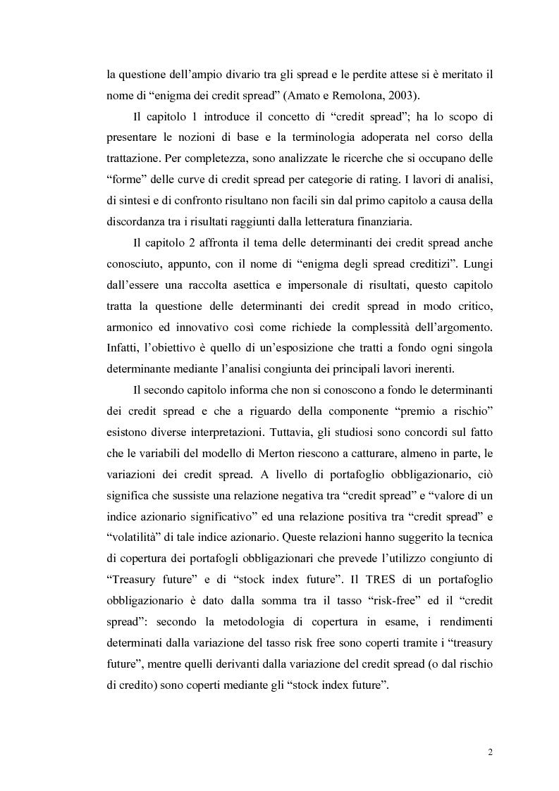 Anteprima della tesi: Le determinanti e l'hedging dei credit spread con le opzioni put europee su indice: una verifica empirica, Pagina 2