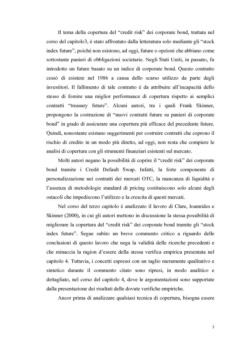 Anteprima della tesi: Le determinanti e l'hedging dei credit spread con le opzioni put europee su indice: una verifica empirica, Pagina 3