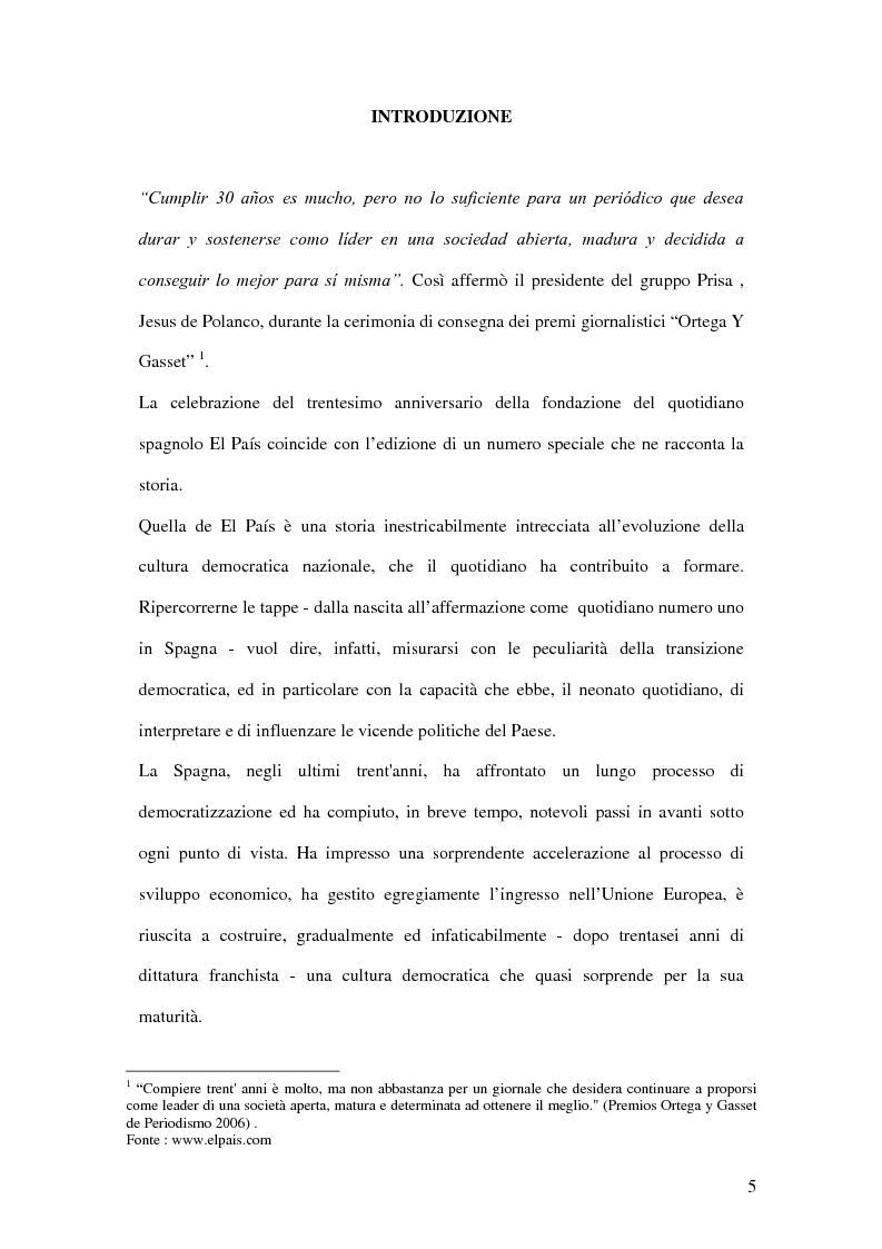 Anteprima della tesi: Il ruolo de El País nella transizione democratica spagnola tra il 1976 e il 1982, Pagina 1