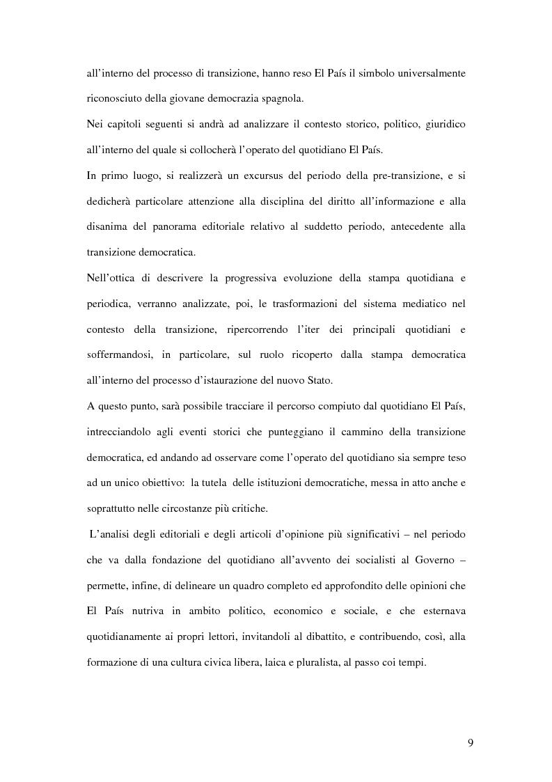 Anteprima della tesi: Il ruolo de El País nella transizione democratica spagnola tra il 1976 e il 1982, Pagina 5