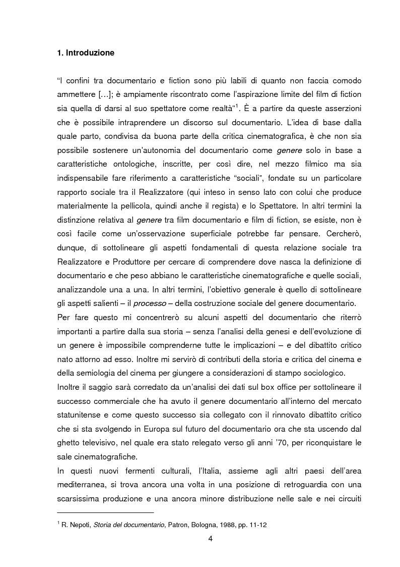Anteprima della tesi: Il documentario: la costruzione sociale di un genere cinematografico, Pagina 1