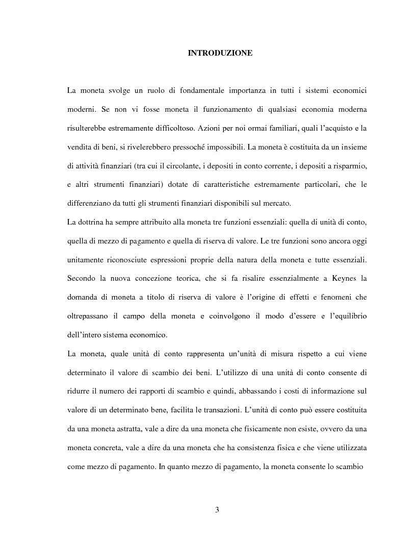 Anteprima della tesi: La domanda di moneta in Italia, Pagina 1