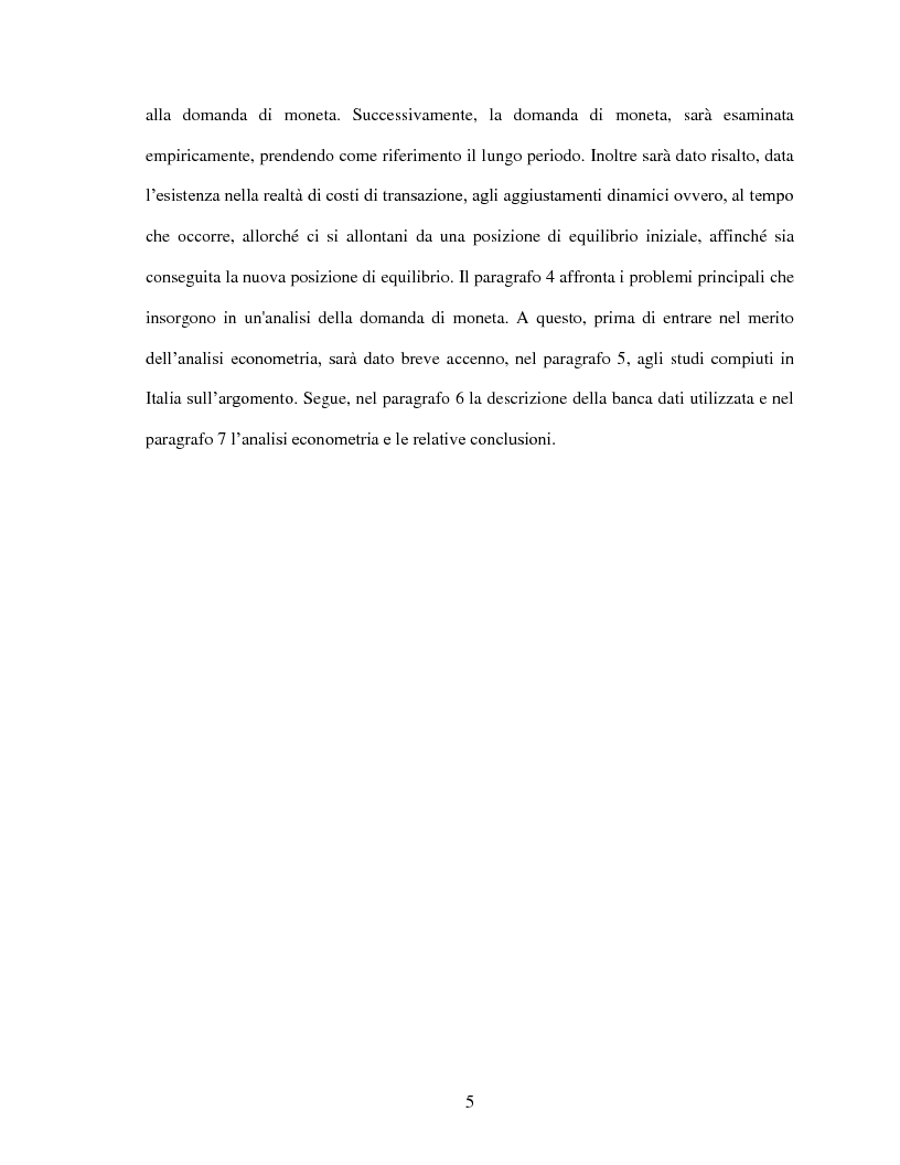 Anteprima della tesi: La domanda di moneta in Italia, Pagina 3