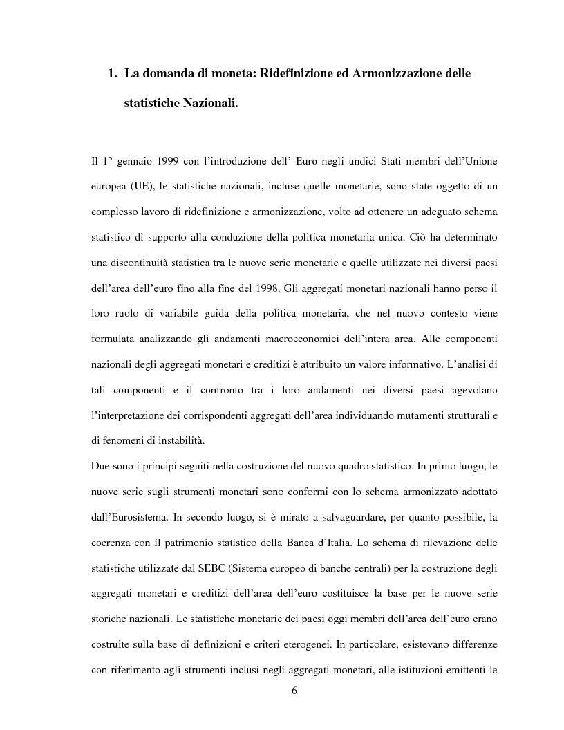 Anteprima della tesi: La domanda di moneta in Italia, Pagina 4