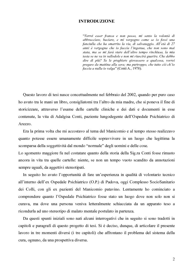 Anteprima della tesi: Il servizio territoriale di salute mentale - Riflessioni per una cura possibile, Pagina 1