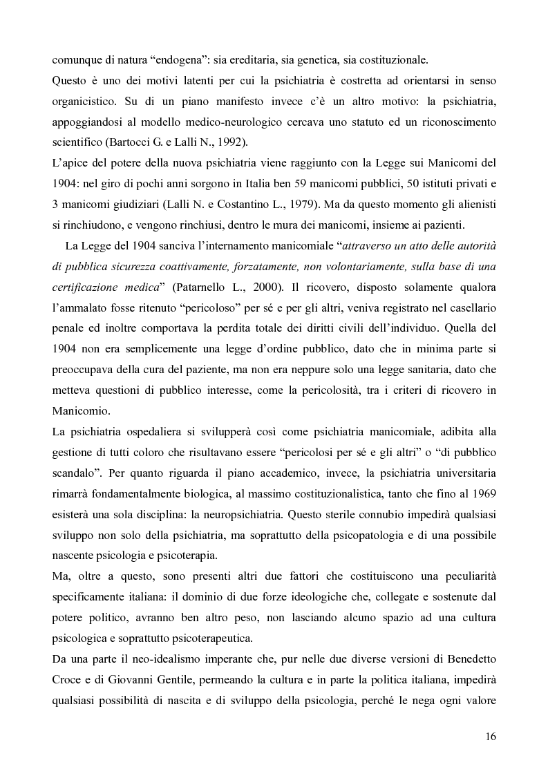 Anteprima della tesi: Il servizio territoriale di salute mentale - Riflessioni per una cura possibile, Pagina 15