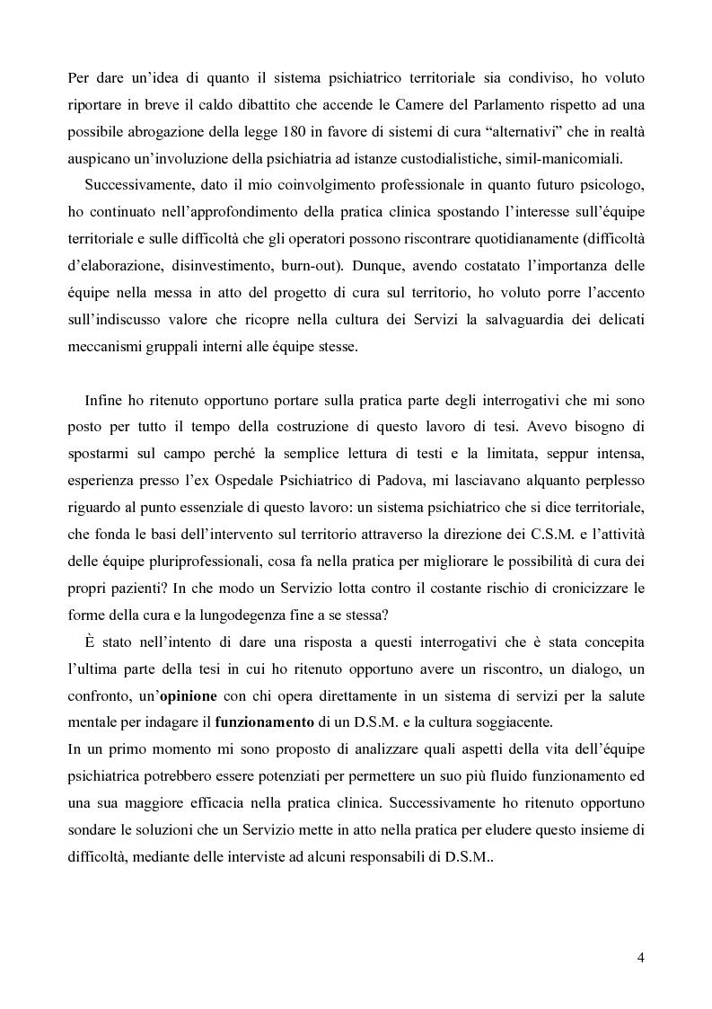 Anteprima della tesi: Il servizio territoriale di salute mentale - Riflessioni per una cura possibile, Pagina 3