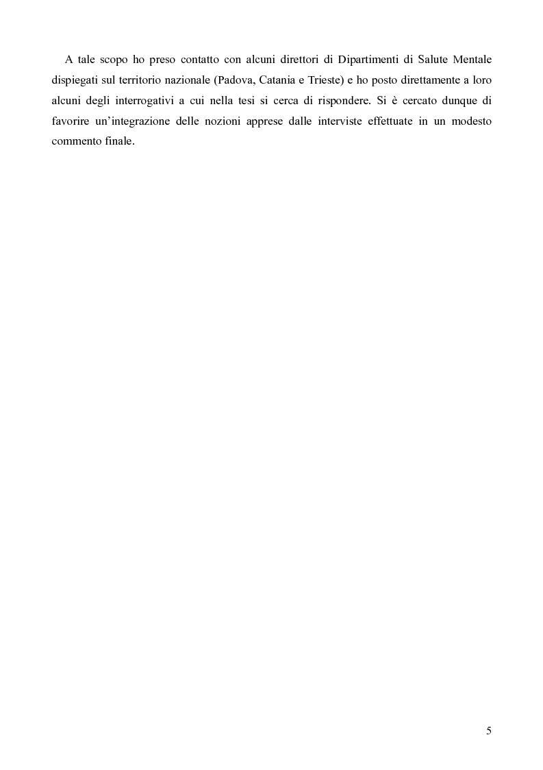 Anteprima della tesi: Il servizio territoriale di salute mentale - Riflessioni per una cura possibile, Pagina 4