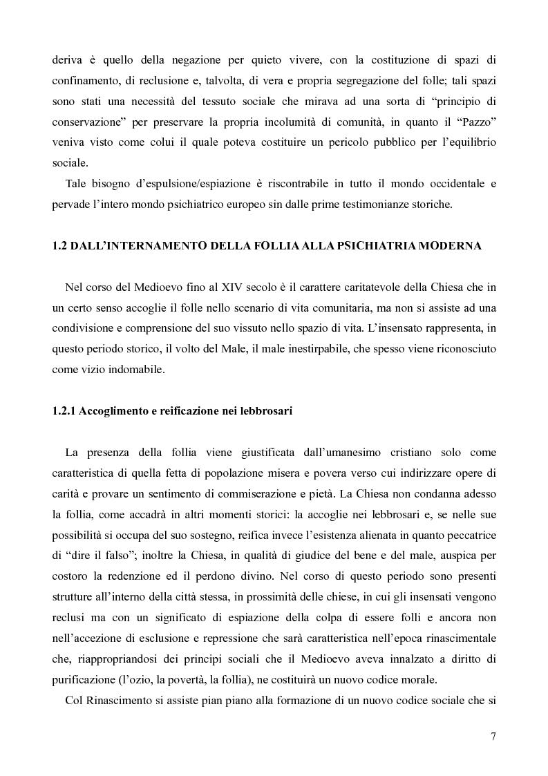 Anteprima della tesi: Il servizio territoriale di salute mentale - Riflessioni per una cura possibile, Pagina 6