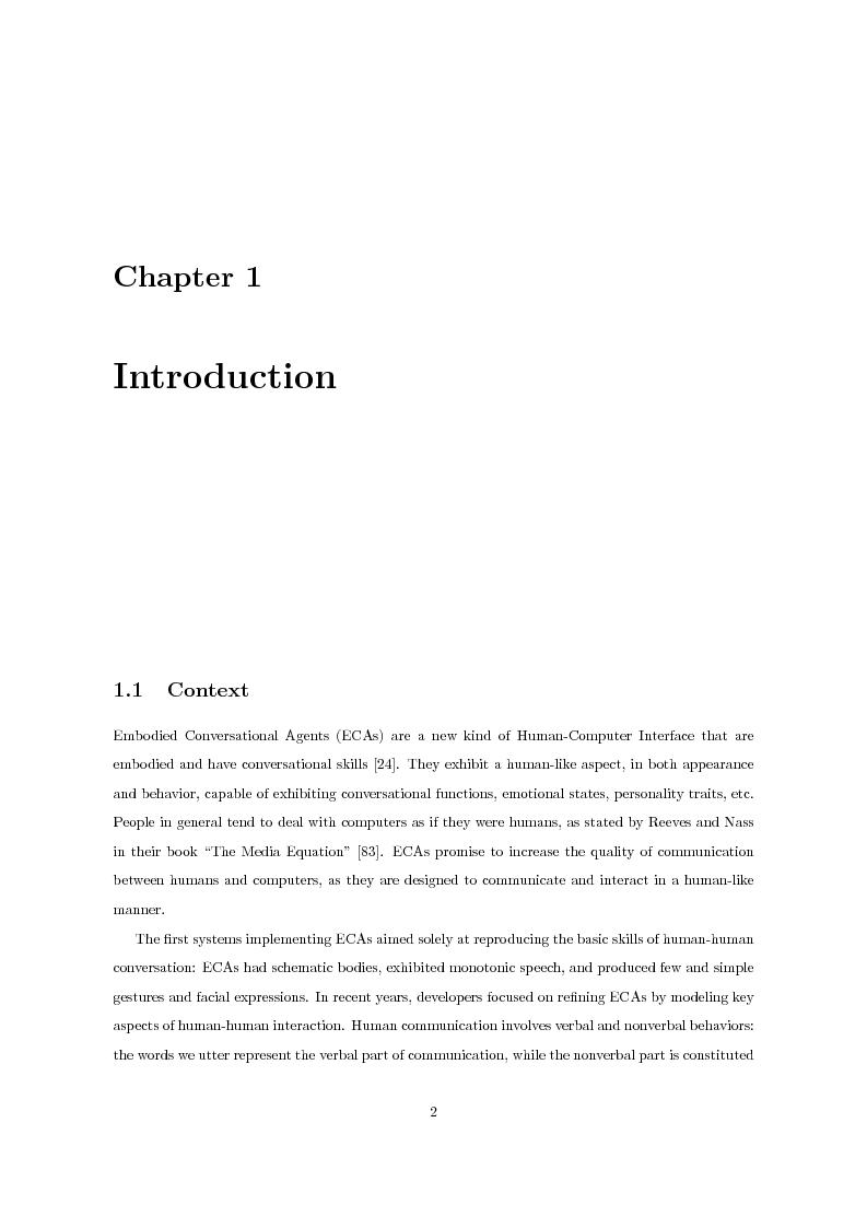Anteprima della tesi: Multimodal Distinctive Behavior for Expressive Embodied Conversational Agents, Pagina 1