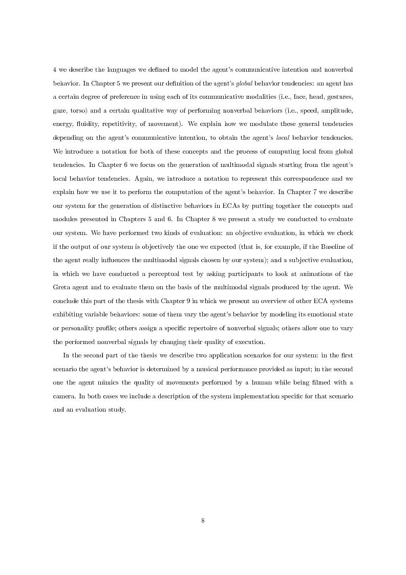 Anteprima della tesi: Multimodal Distinctive Behavior for Expressive Embodied Conversational Agents, Pagina 7