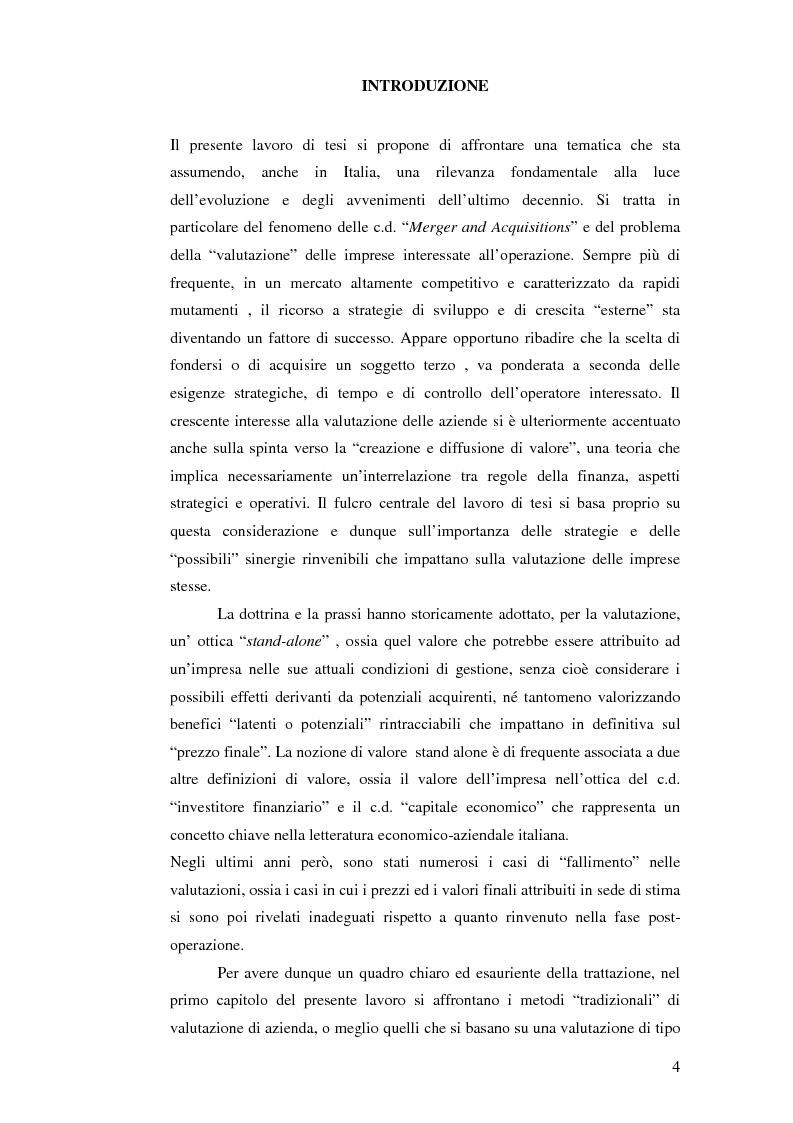 Anteprima della tesi: I nuovi approcci valutativi nelle operazioni di Merger and acquistion. La fusione di I.Net S.p.A. in BT Italia S.p.A., Pagina 1