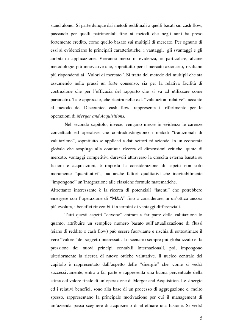 Anteprima della tesi: I nuovi approcci valutativi nelle operazioni di Merger and acquistion. La fusione di I.Net S.p.A. in BT Italia S.p.A., Pagina 2