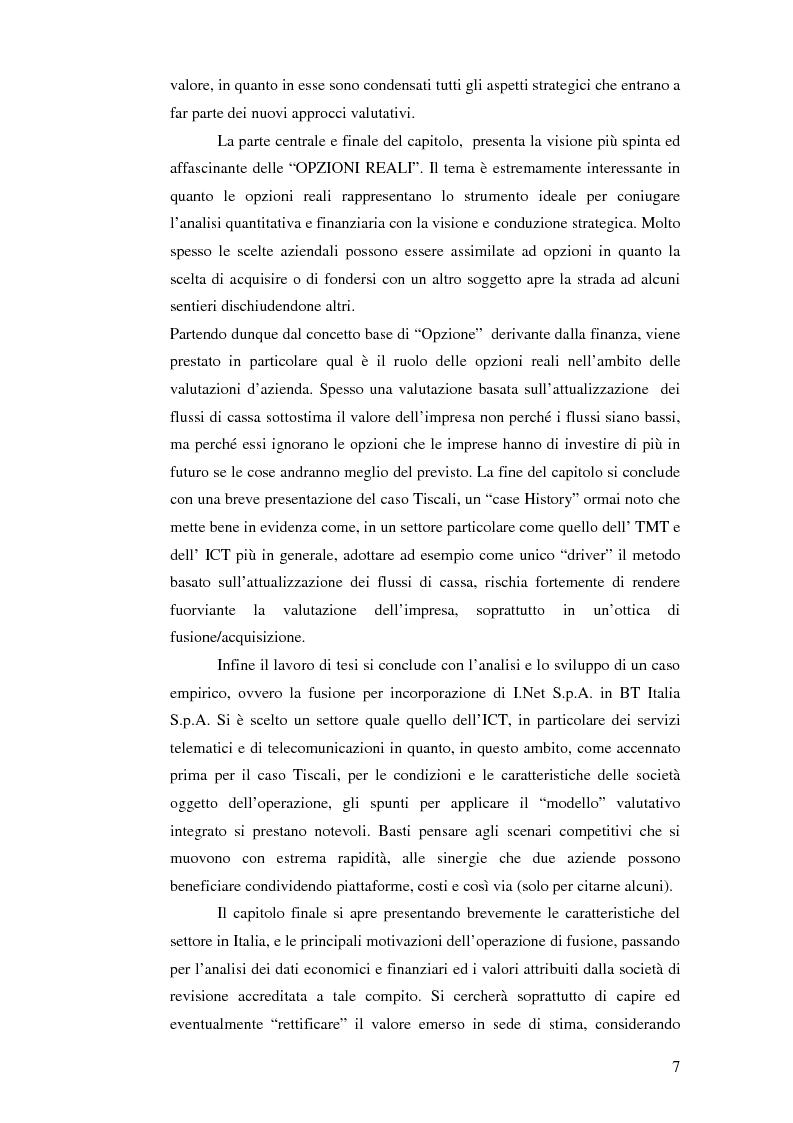 Anteprima della tesi: I nuovi approcci valutativi nelle operazioni di Merger and acquistion. La fusione di I.Net S.p.A. in BT Italia S.p.A., Pagina 4