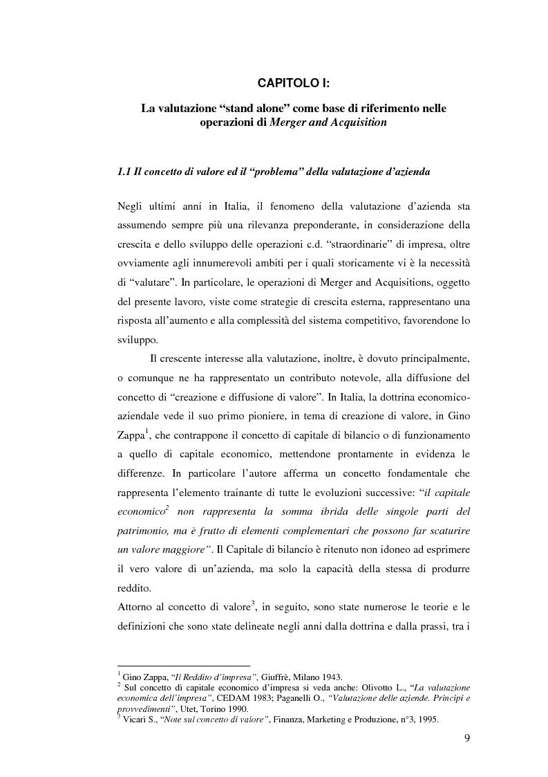 Anteprima della tesi: I nuovi approcci valutativi nelle operazioni di Merger and acquistion. La fusione di I.Net S.p.A. in BT Italia S.p.A., Pagina 6