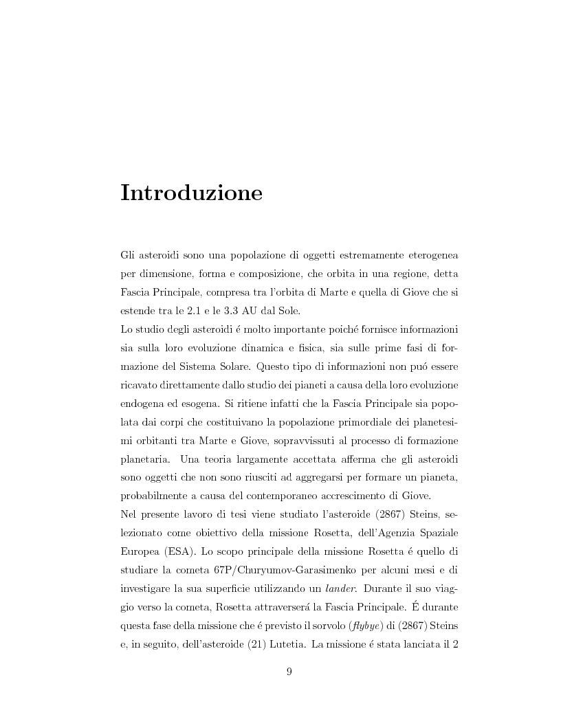 Anteprima della tesi: Fotometria dell'asteroide (2867) Steins, obiettivo della missione Rosetta, Pagina 1