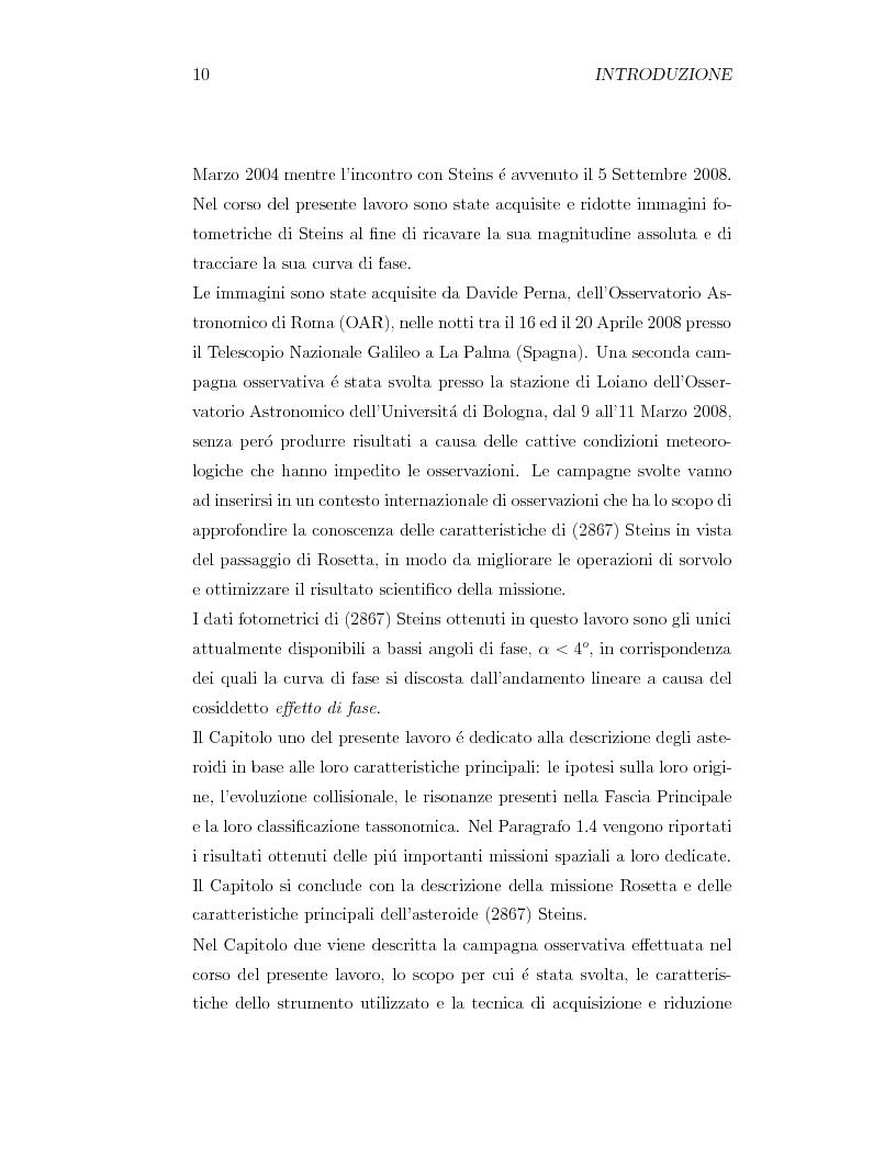 Anteprima della tesi: Fotometria dell'asteroide (2867) Steins, obiettivo della missione Rosetta, Pagina 2