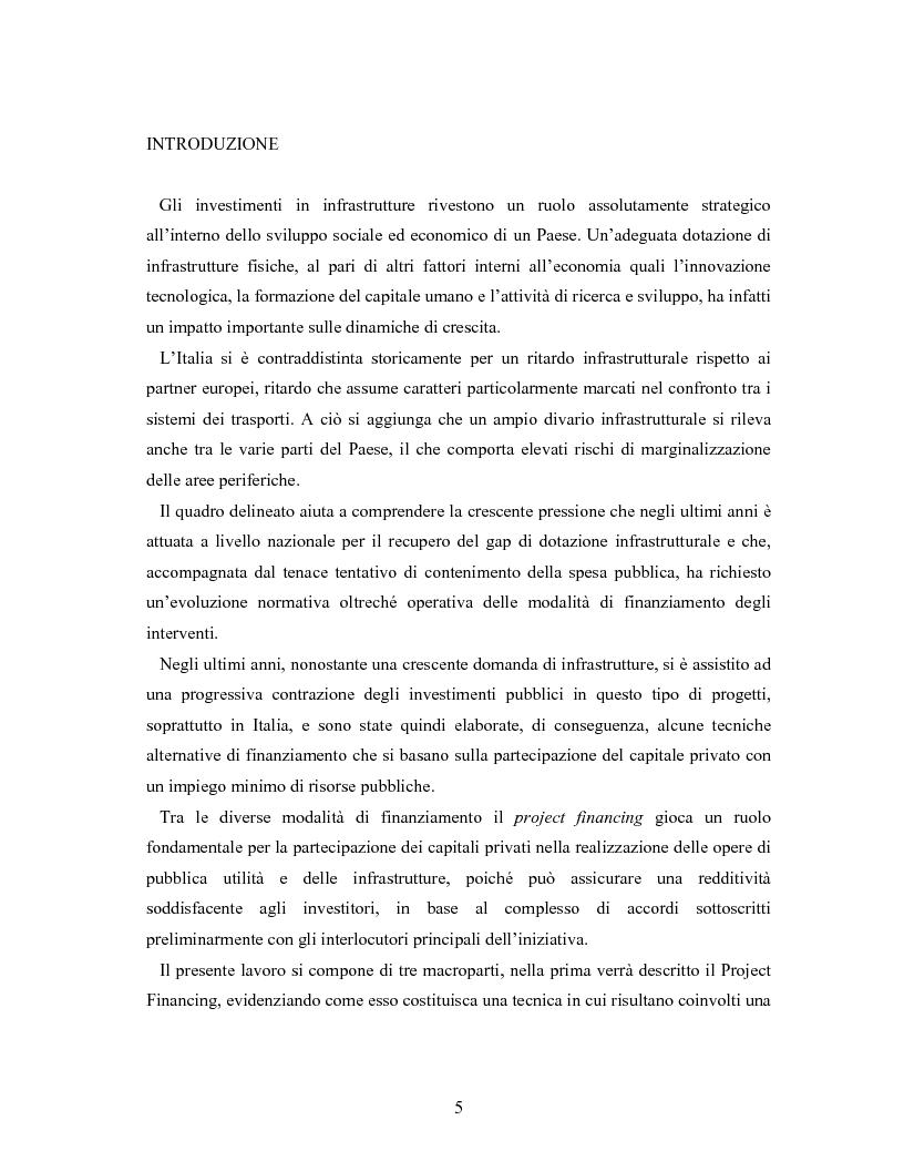 Anteprima della tesi: Il project financing ed il partenariato pubblico-privato: l'autostrada regionale Cispadana, Pagina 1
