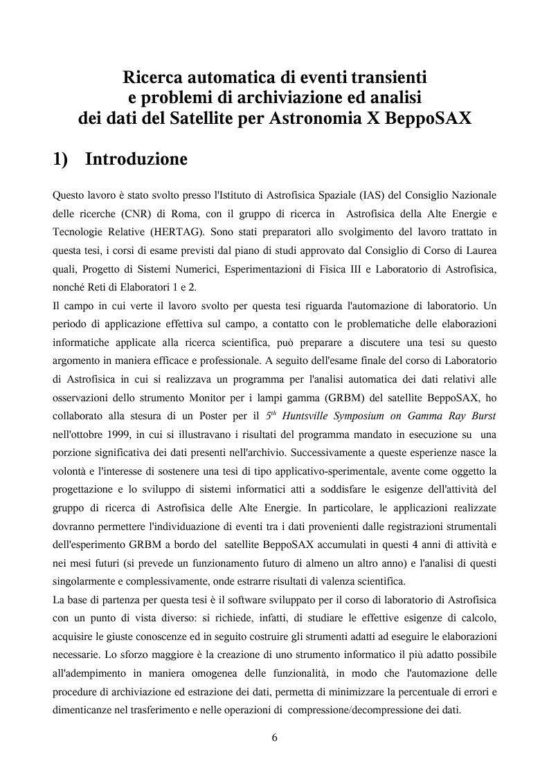 Anteprima della tesi: Ricerca automatica di eventi transienti e problemi di archiviazione ed analisi dei dati del satellite per astronomia X BeppoSAX, Pagina 1