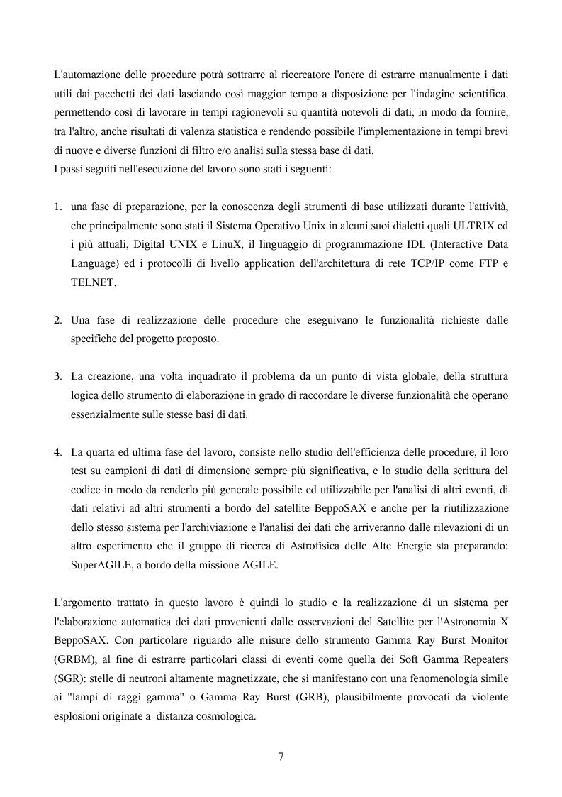 Anteprima della tesi: Ricerca automatica di eventi transienti e problemi di archiviazione ed analisi dei dati del satellite per astronomia X BeppoSAX, Pagina 2