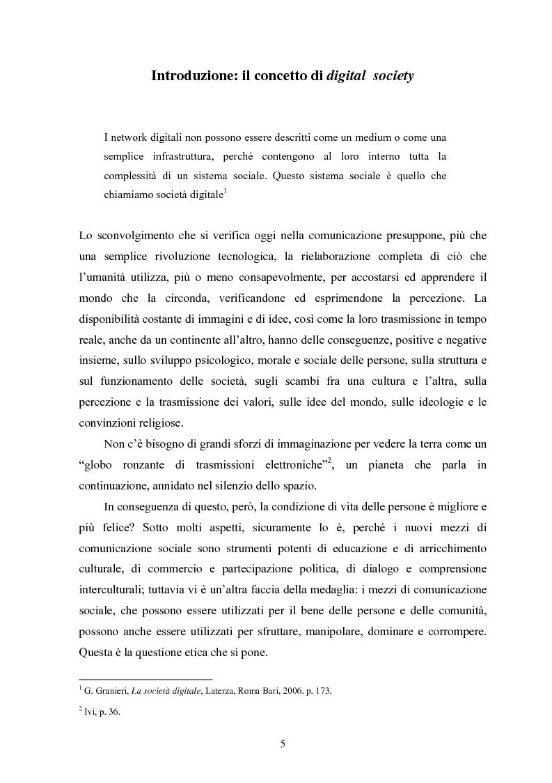 Anteprima della tesi: Per una critica della società digitale - Approfondimenti e caratteri di una discussione in corso, Pagina 1