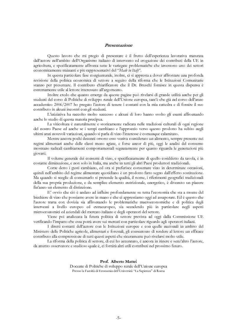 Anteprima della tesi: L'economia del settore vitivinicolo in Europa ed in Italia - Illustrazione dei percorsi economici per una riforma del settore, Pagina 1