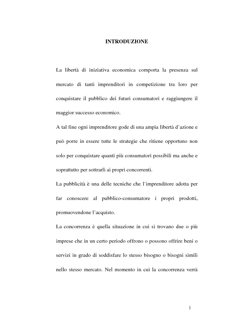 Anteprima della tesi: Concorrenza sleale e pubblicità, Pagina 1