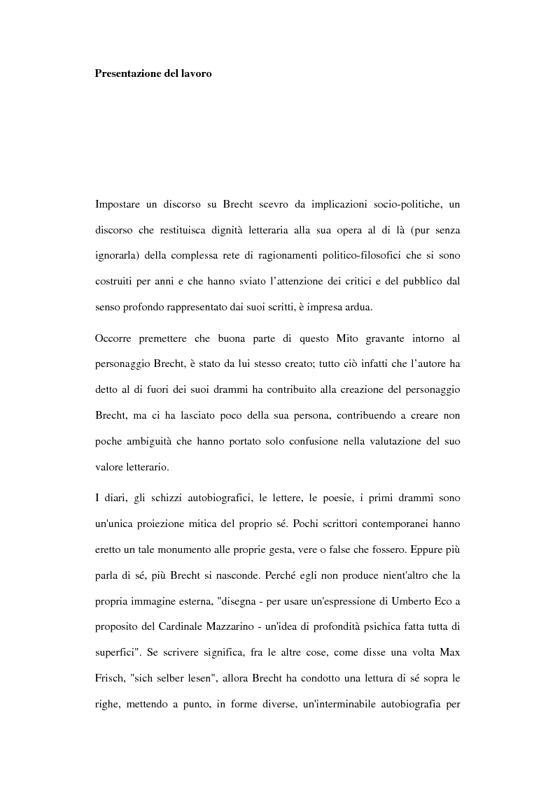 Anteprima della tesi: Der gute Mensch von Sezuan e il Brecht maturo nel contesto del '900, Pagina 2