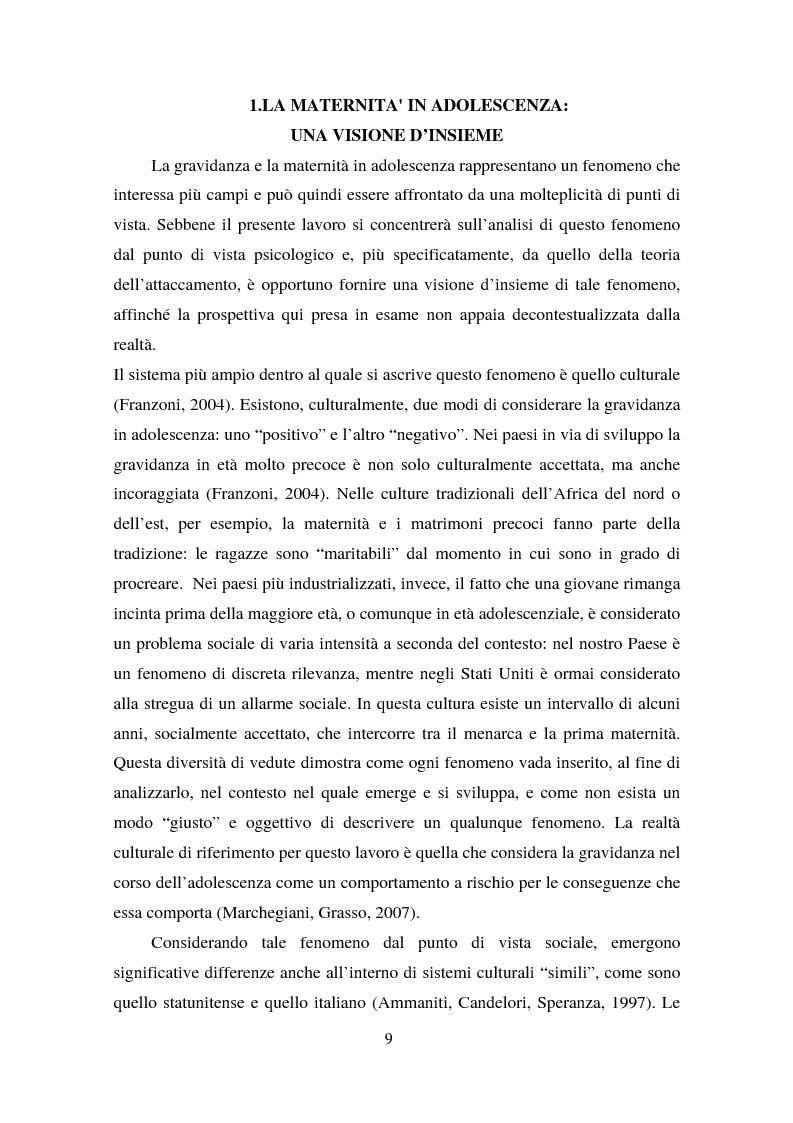 Anteprima della tesi: La maternità in adolescenza: fattori di rischio e di protezione e modelli di intervento, Pagina 4