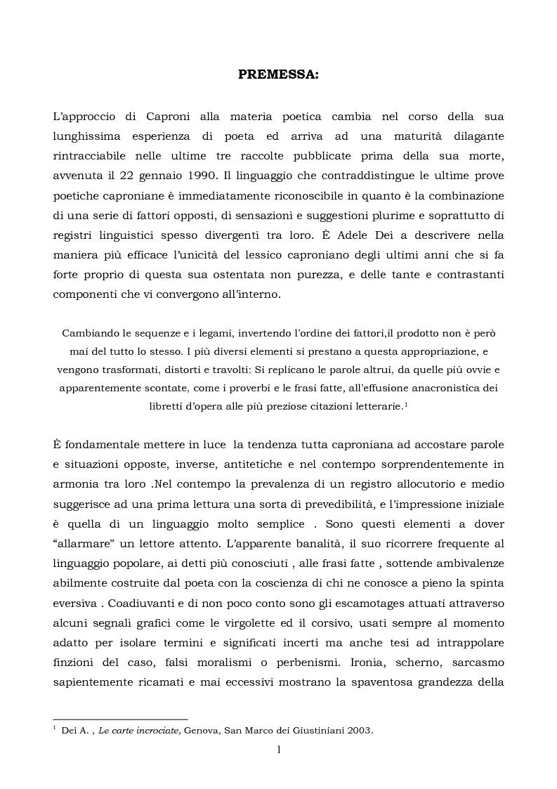 Anteprima della tesi: La logica binaria dell'ultimo Caproni, Pagina 1