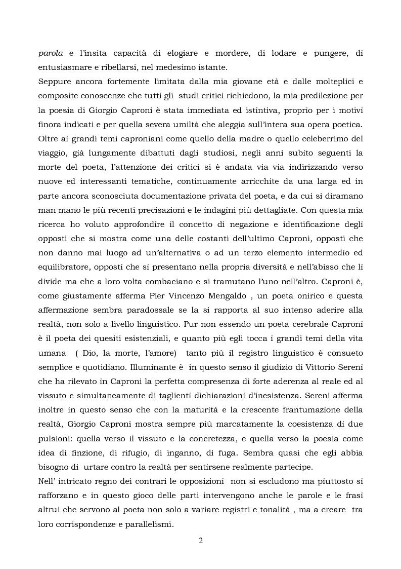Anteprima della tesi: La logica binaria dell'ultimo Caproni, Pagina 2