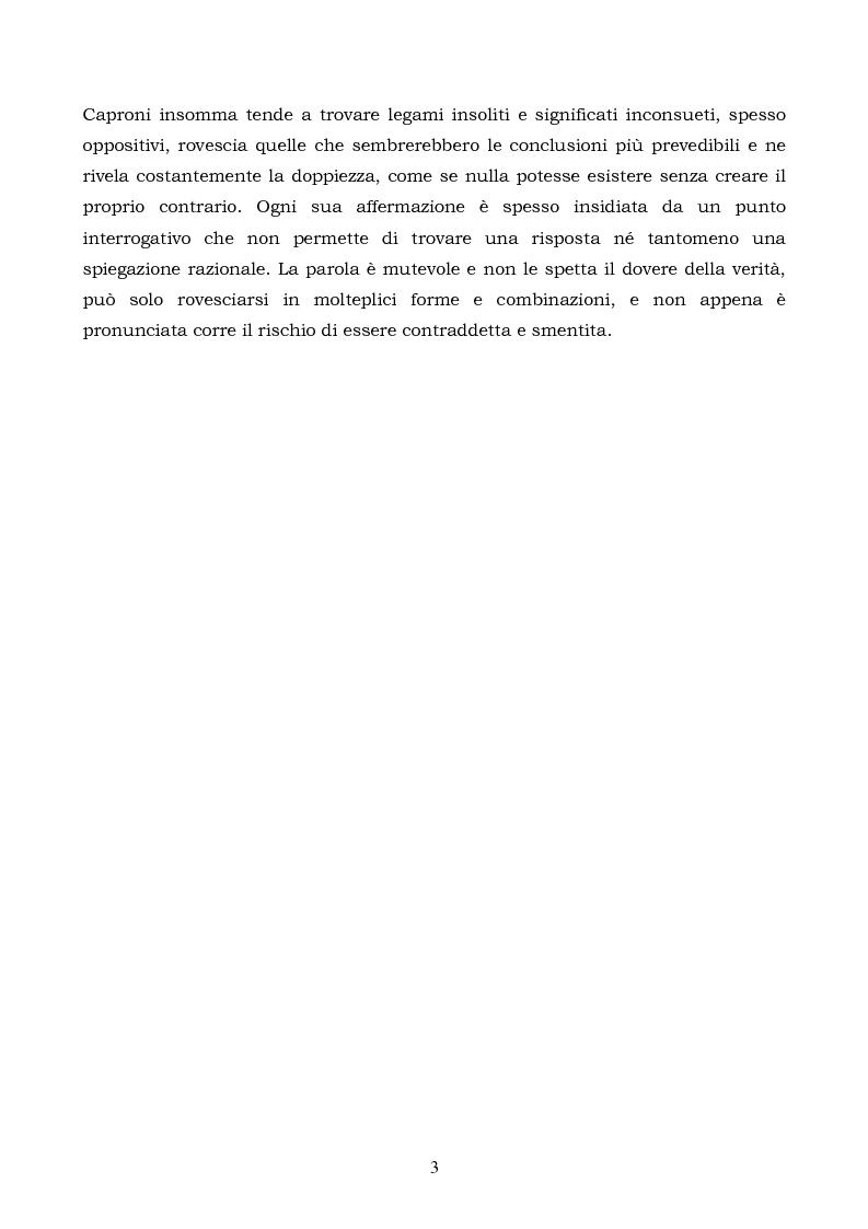 Anteprima della tesi: La logica binaria dell'ultimo Caproni, Pagina 3
