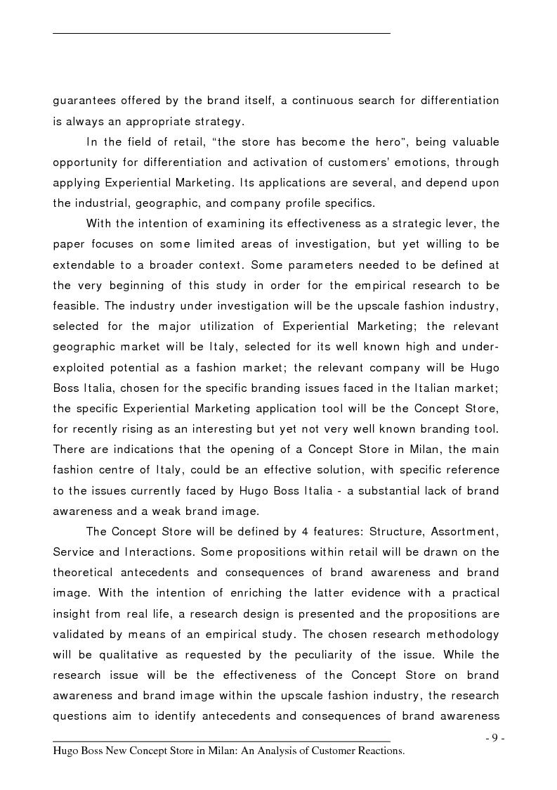 Anteprima della tesi: Hugo Boss New Concept Store in Milan: an Analysis of Customer Reactions, Pagina 4